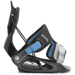 kids snowboard bindings from Flow in blue and black