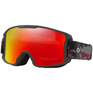 oakley line miner goggles for kids with a fire mirrored lens and black strap