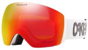 oakley brand mirrored ski goggles with white strap