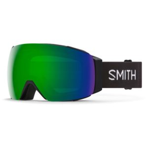 smith snow goggles with green mirrored lens and black strap